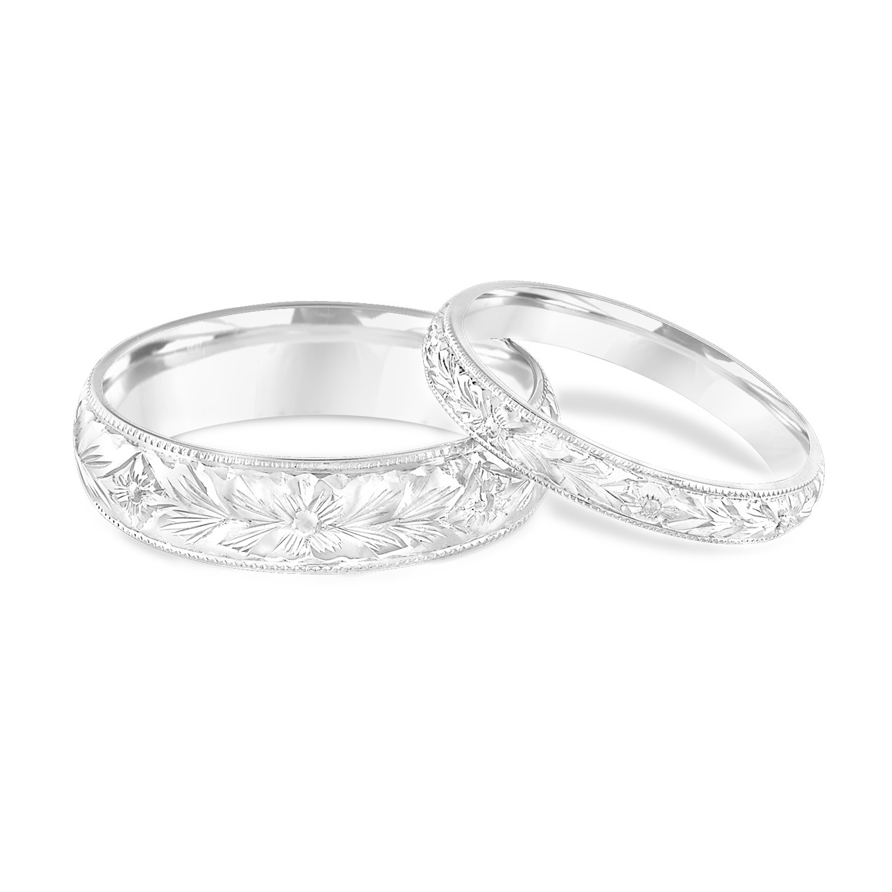 his and hers wedding bands hand engraved matching wedding rings couple wedding bands set vintage wedding