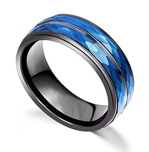 8mm Unisex Or Mens Tungsten Wedding Bands Duo Tone