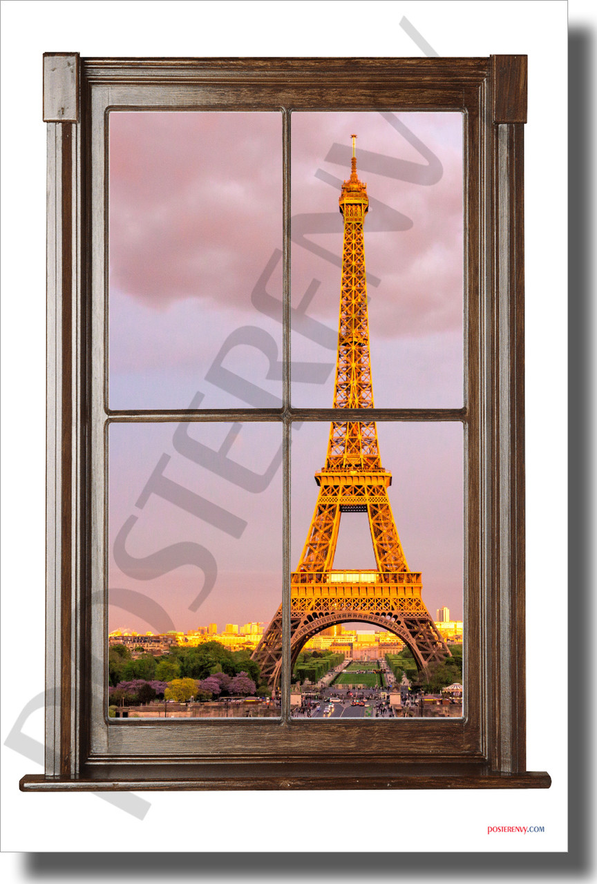 paris france window view new world travel poster