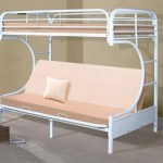 Metal C Shaped Futon Bunk Bed In White Finish 4509 3wh Kfw