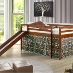 Castle Low Loft Bed With Slide In Espresso Finish With Camouflage Curtains Children S Fort Bed With Slide And Camo Curtains
