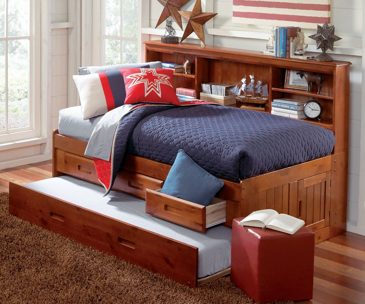 Discovery World Furniture Merlot Twin Size Bookcase Captains Day Bed 2822 Children S Captain Daybeds With 3 Drawers And Trundle Twin Size Captain S Trundle Day Beds At Kids Furniture Warehouse
