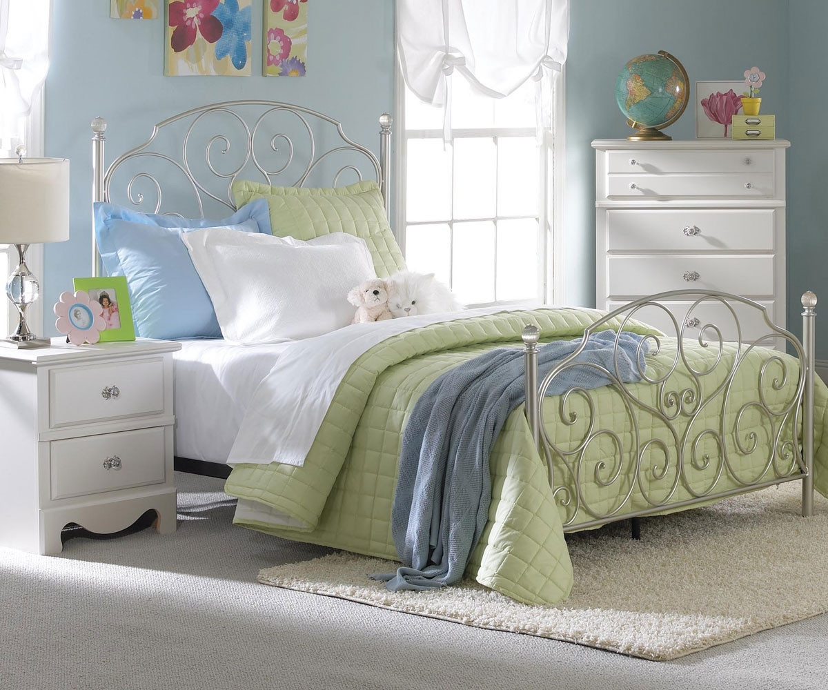 Spring Rose Metal Bed For Girls Full Size Bed With Crystal Knobs Standard Furniture Kids Beds