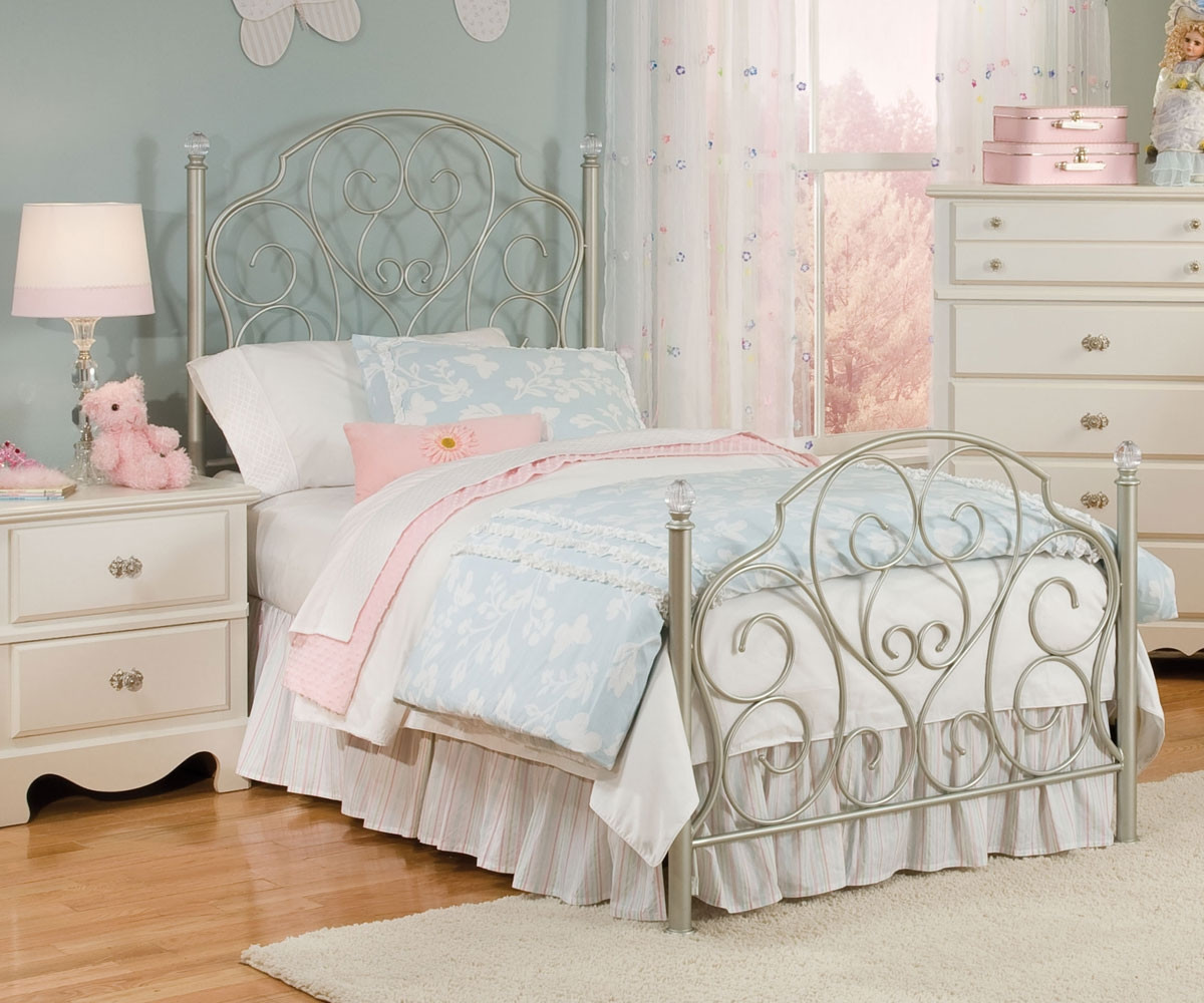 Spring Rose Metal Bed For Girls Twin Size Bed With Crystal Knobs Standard Furniture Kids Beds