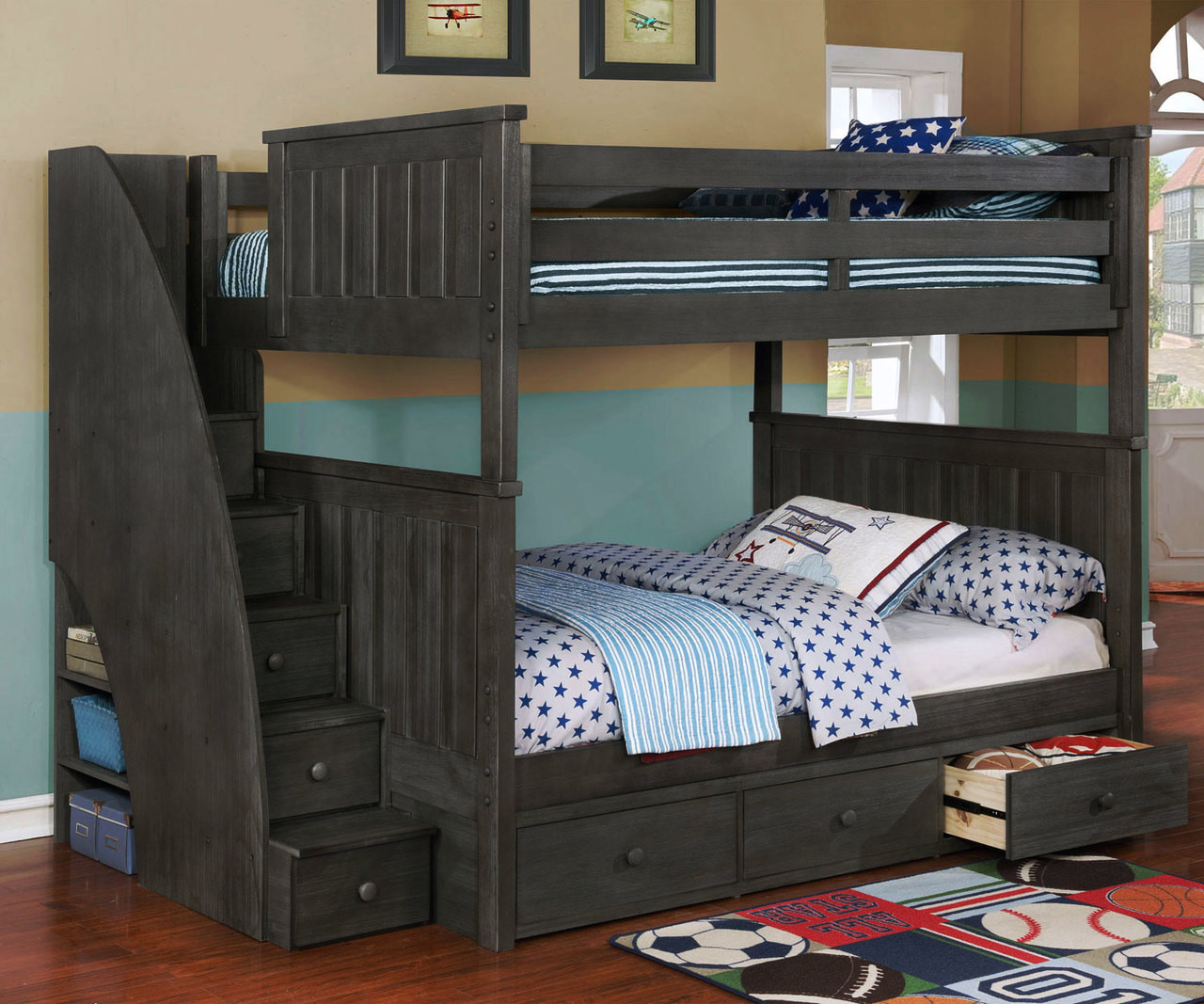 Loft Style Bunk Beds With Stairs Novocom Top