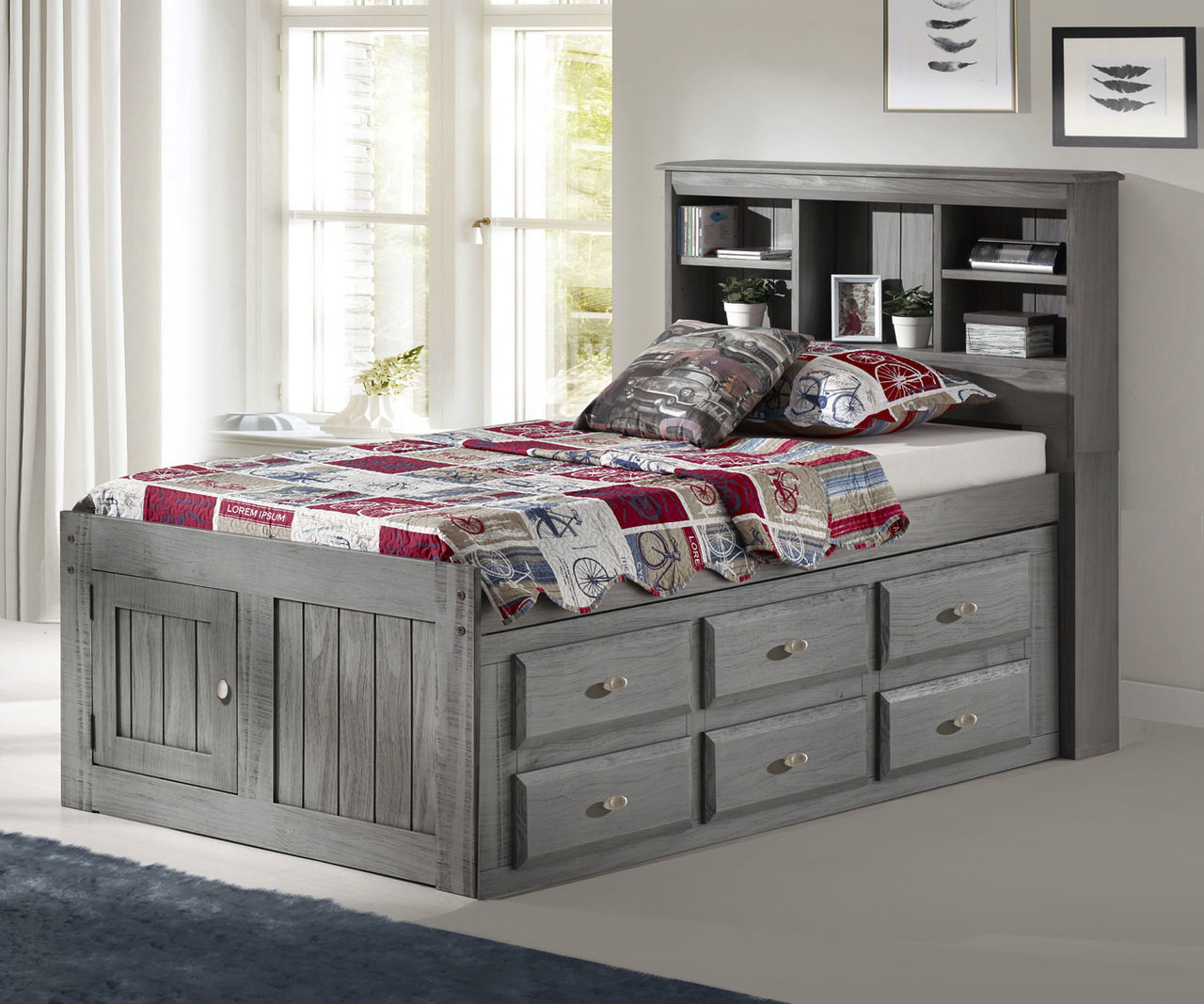Discovery World Furniture Charcoal Twin Size Bookcase Captains Bed Twin Size Grey Bookcase Captain Beds With Drawers Model 3220