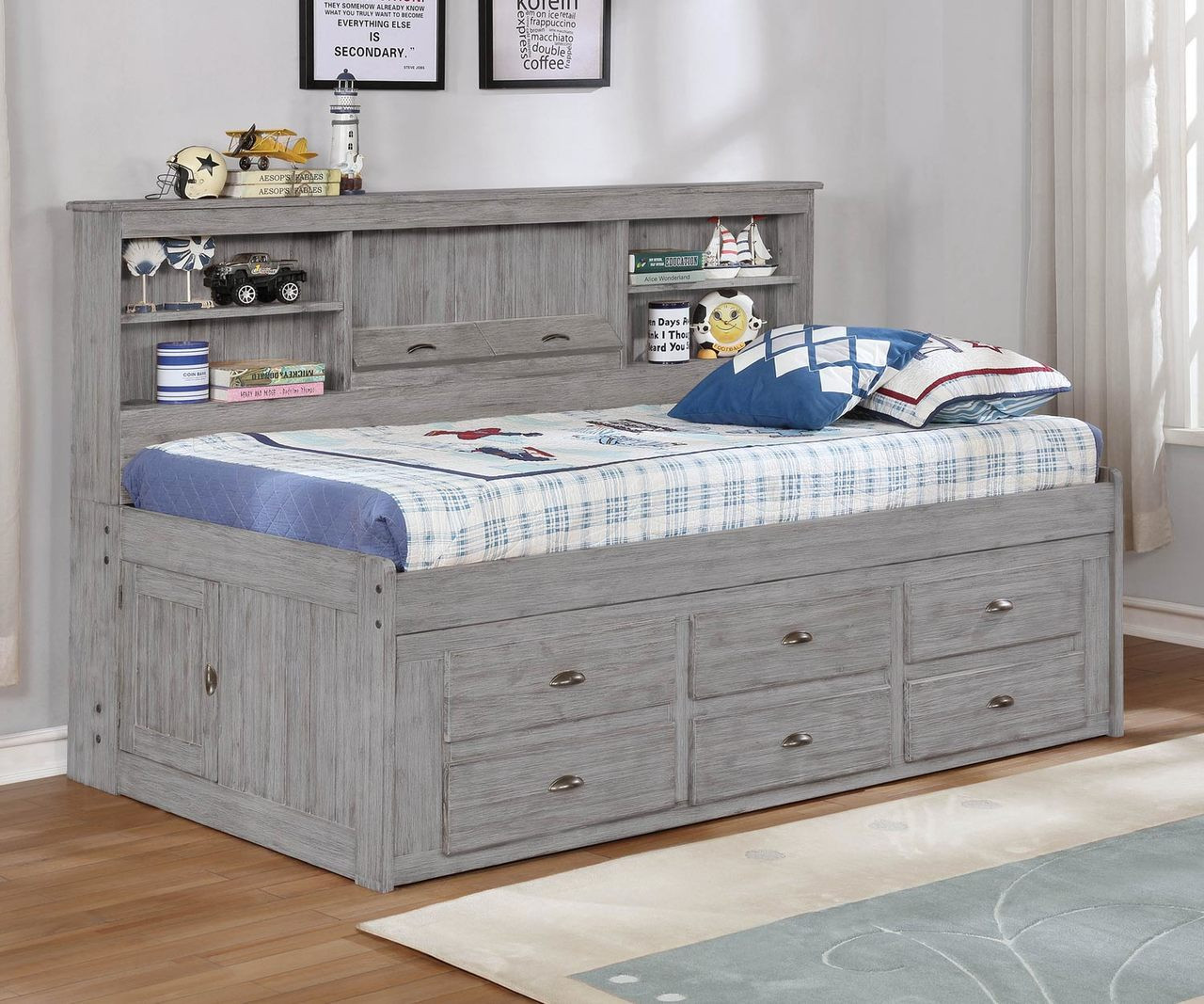 Twin Size Bookcase Captains Day Bed In Grey 4222 Kfw