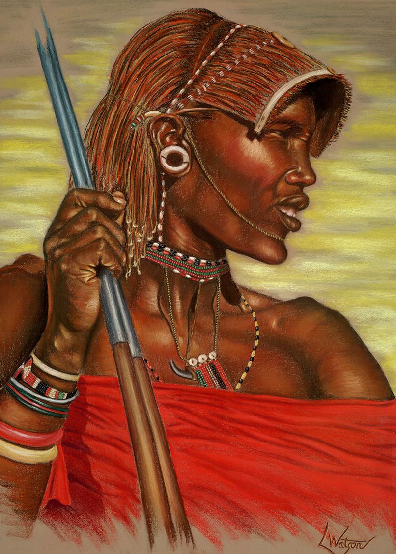 Masai Warrior by Lori Watson African Art