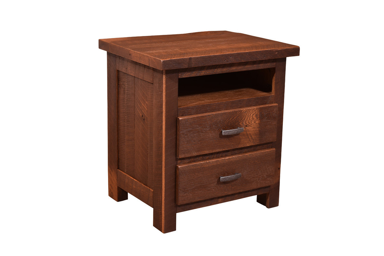 Amish Handcrafted Barnwood Quincy Night Stand With Open Shelf