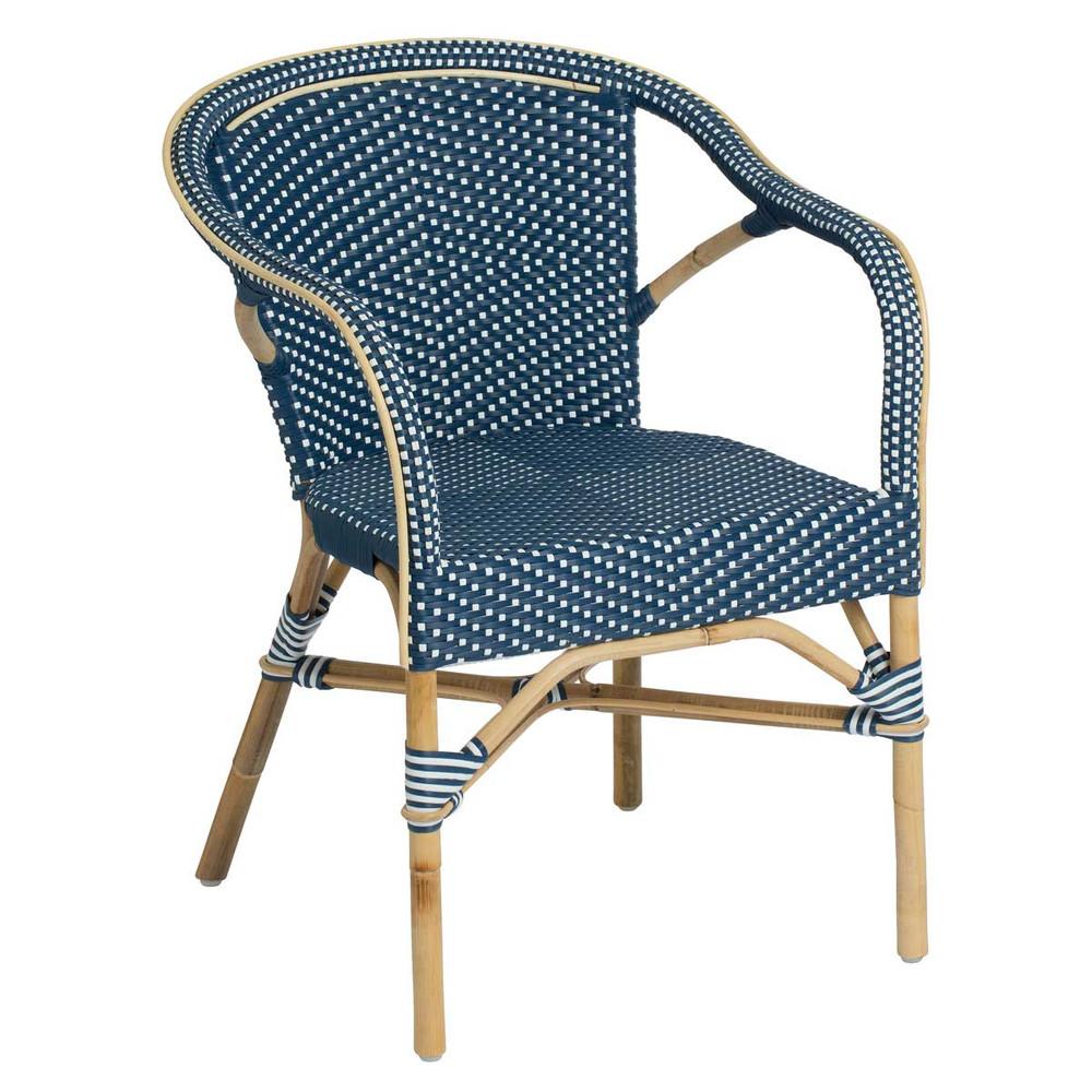 madeleine arm chairs navy blue white