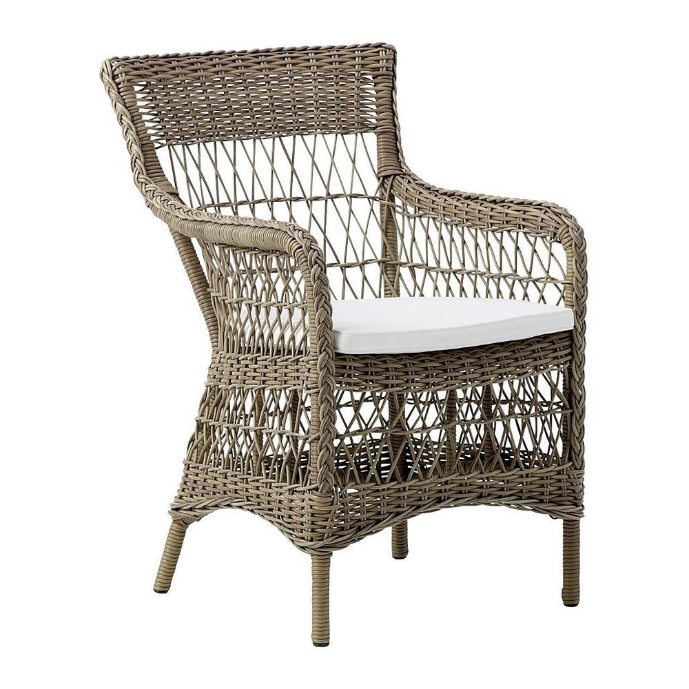 marie arm chair antique brown with white cushion