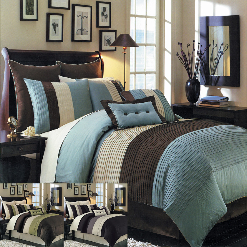 7 pc blue white comforter set queen or