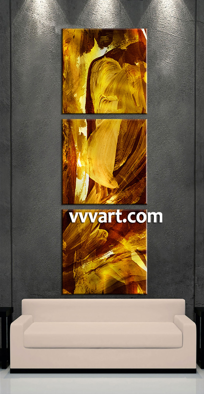 3 Piece Canvas Oil Paintings Yellow Abstract Wall Decor