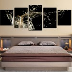 5 Piece Wall Decor Panoramic Huge Canvas Print Champagne Multi Panel Canvas Flute Glasses Canvas Art Prints Drinks Group Canvas