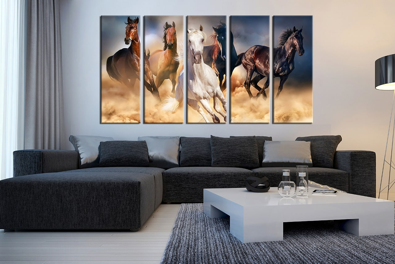 5 Piece Multi Panel Canvas, Horse Wall Art, Brown Horse