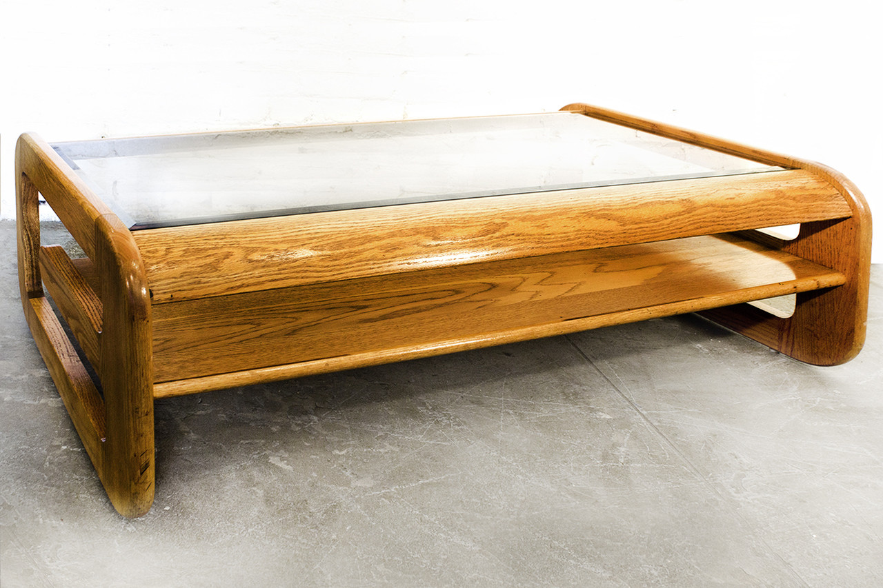 sold mid century oak and glass coffee table by lou hodges