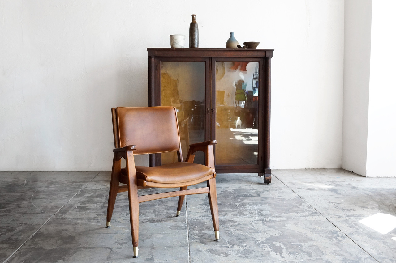 Sold Mid Century Modern Wood Armchair With Leather Seat Rehab Vintage Interiors