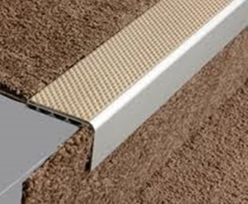 Aluminium Square Anti Slip Carpet Stair Edge Nosing 2 5M | Anti Slip Carpet For Stairs | Slip Resistant | Indoor Stair | Skid Resistant | Self Adhesive | Bullnose Carpet