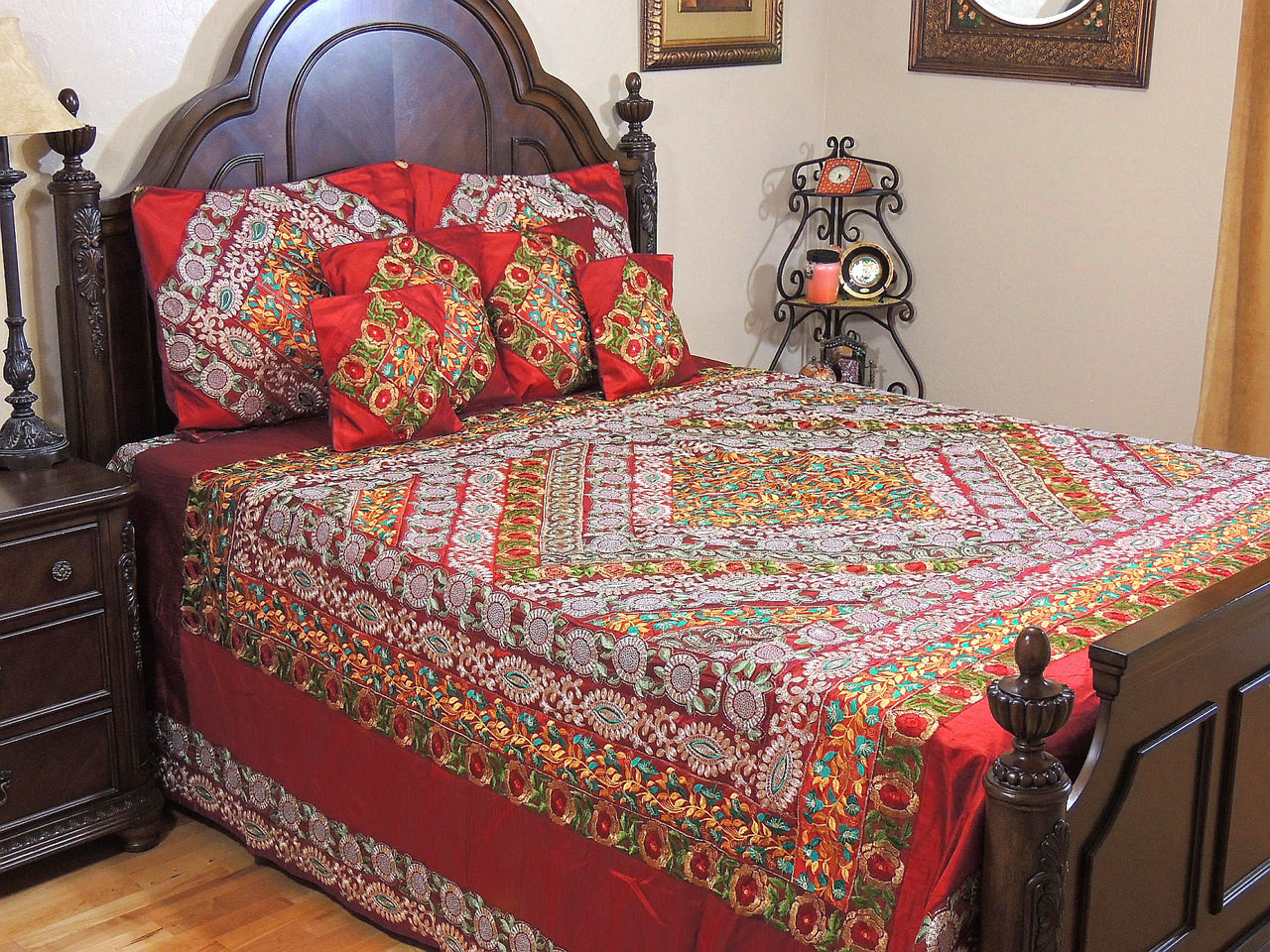 maroon duvet cover set embroidered indian bedding pillow shams cushion covers king