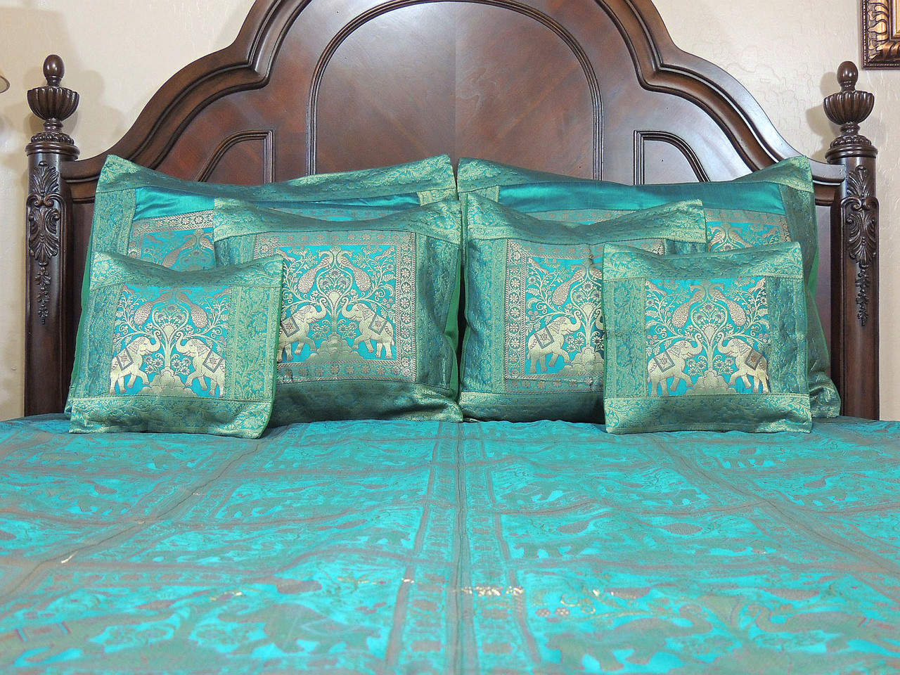 teal gold elephant pair india inspired bedding decorative duvet king bedspread set