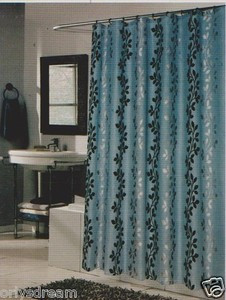 flocked texture polyester fabric shower curtain leaf blue silver black