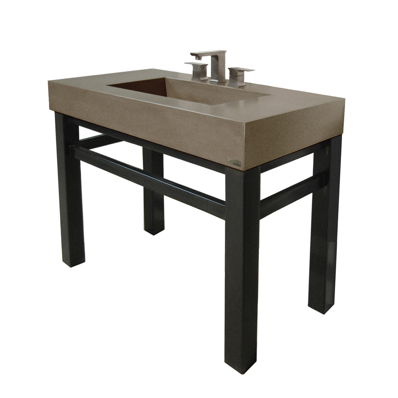 36 industrial vanity with concrete rectangle sink