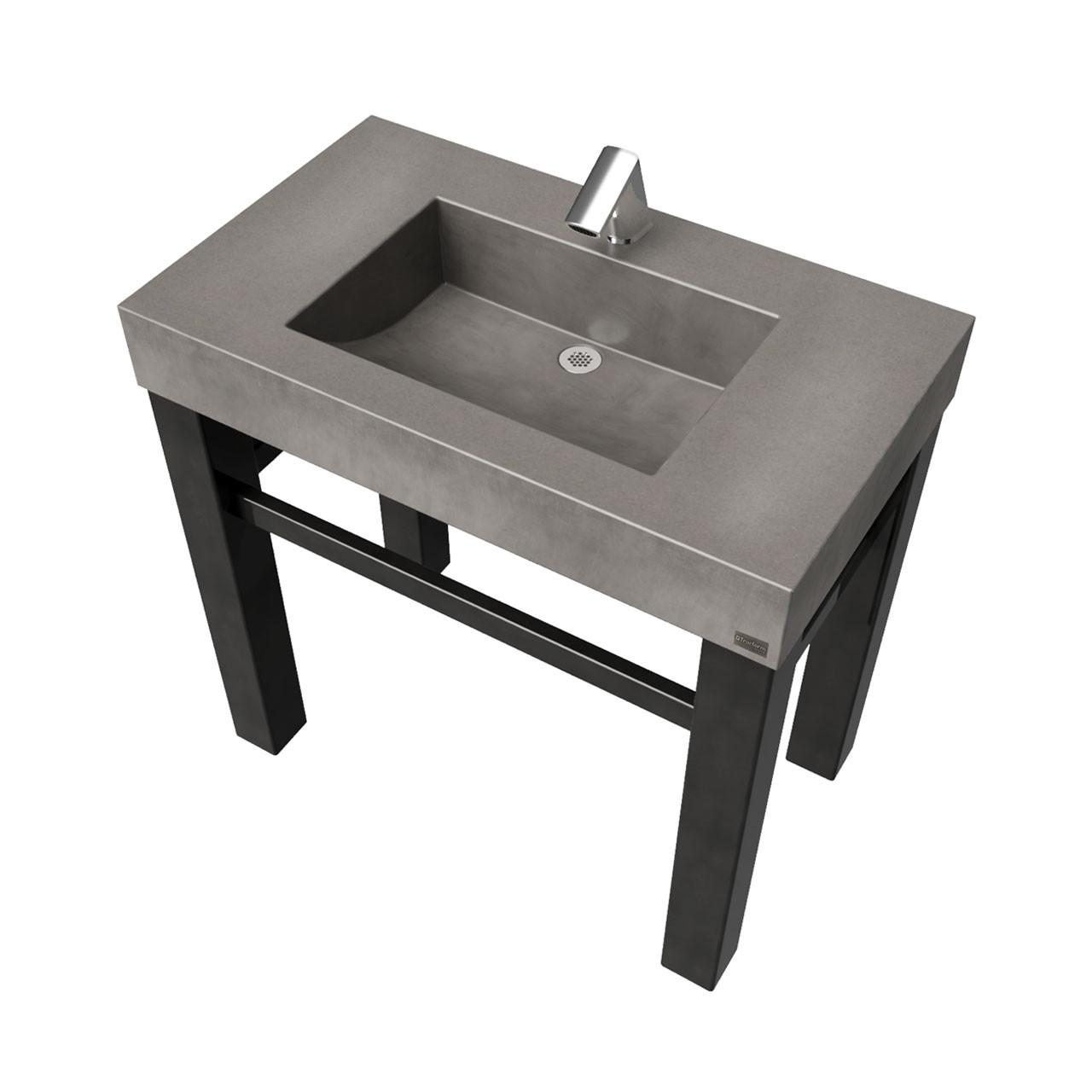 36 industrial vanity with concrete half trough sink
