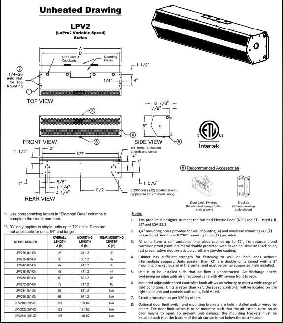 208v 3 phase 60 hz 13kw 48 electric heated mars air systems lpv248 1eei pw lopro air curtain white motion actuated switches industrial scientific