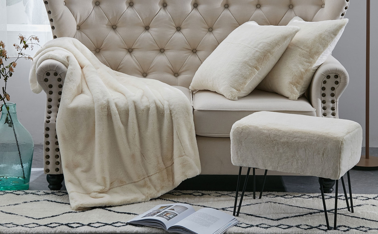 solid faux fur throw pillow shells and ottoman 4 piece set