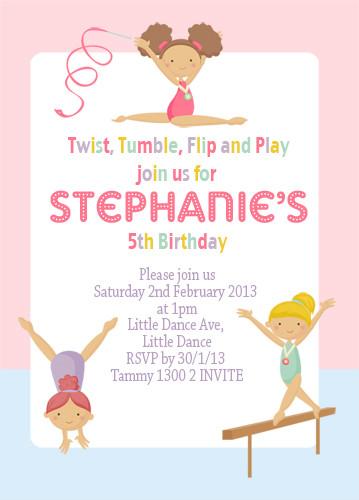 invitations girls gymnastics