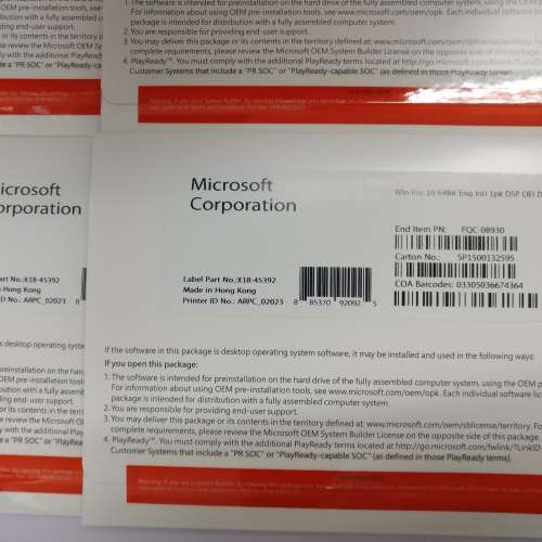 Windows 10 pro 64bit 中文或英文版軟件光碟 OEM DVD +原裝正版 KEY 金鑰 office 2019 365 - DCFever.com