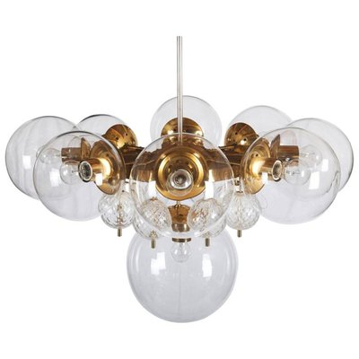 Large Brass Chandelier With Crystal Globes From Kamenicky Senov 1960s 1