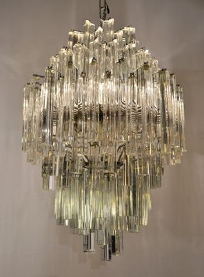 Vintage Murano Glass Triedri Chandelier From Venini 1