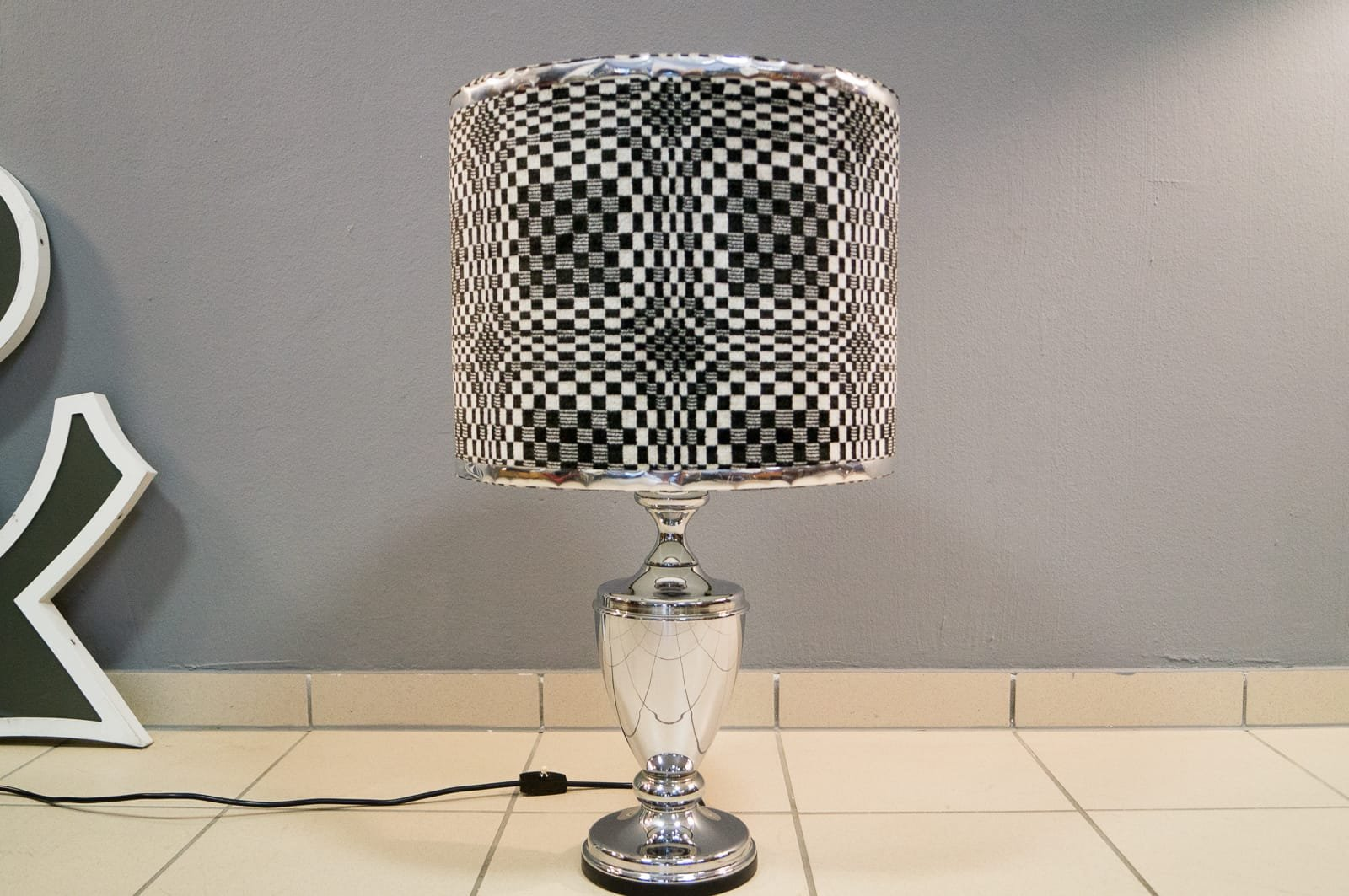 Geometric Op Art Chrome Table Lamp 1970s For Sale At Pamono