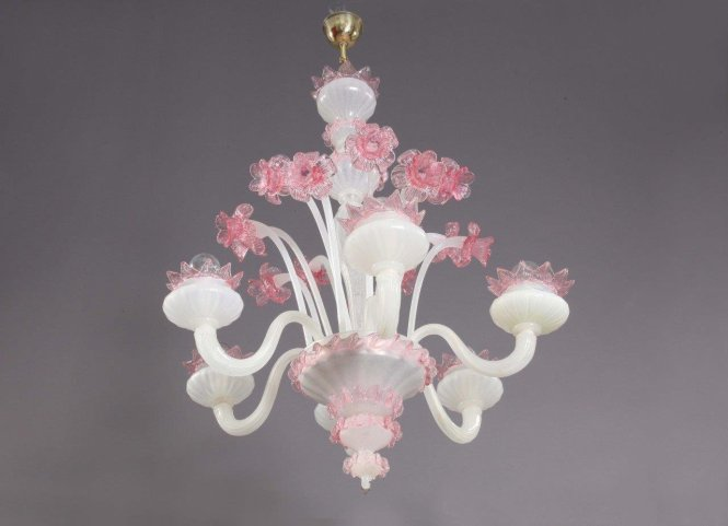Pink And White N Glass Chandelier From Murano 1940s For