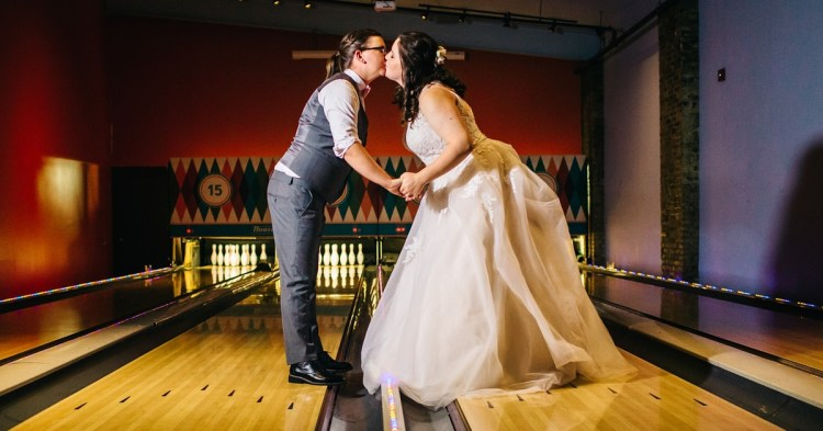 bowling alley wedding venue, happily ever borrowed