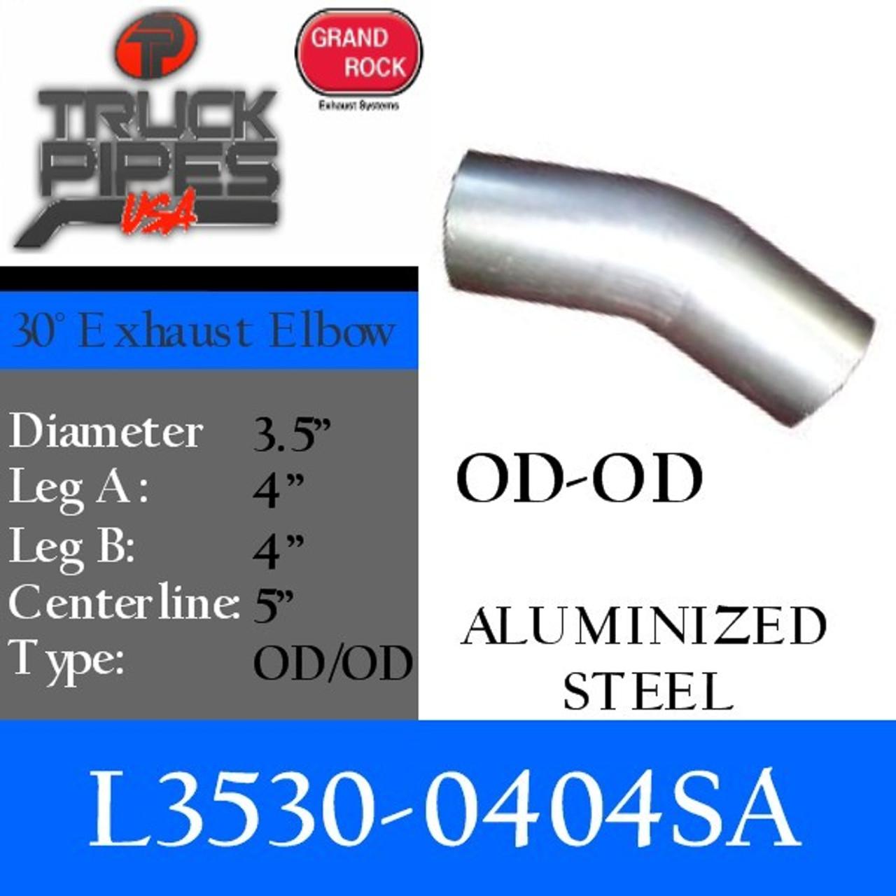3 5 30 degree exhaust elbow 4 x 4 od od aluminized l3530 0404sa