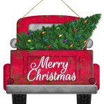12 Merry Christmas Red Truck With Tree Ap8556