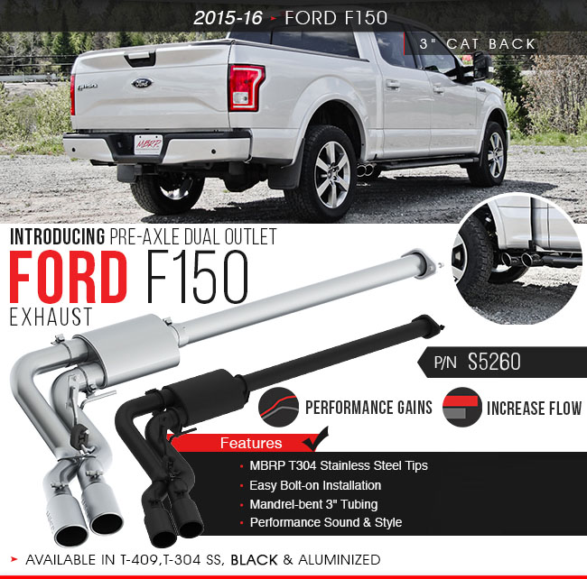 mbrp 3 cat back single side dual outlet in front of rear wheel black coated race version ford f 150 2015 2020