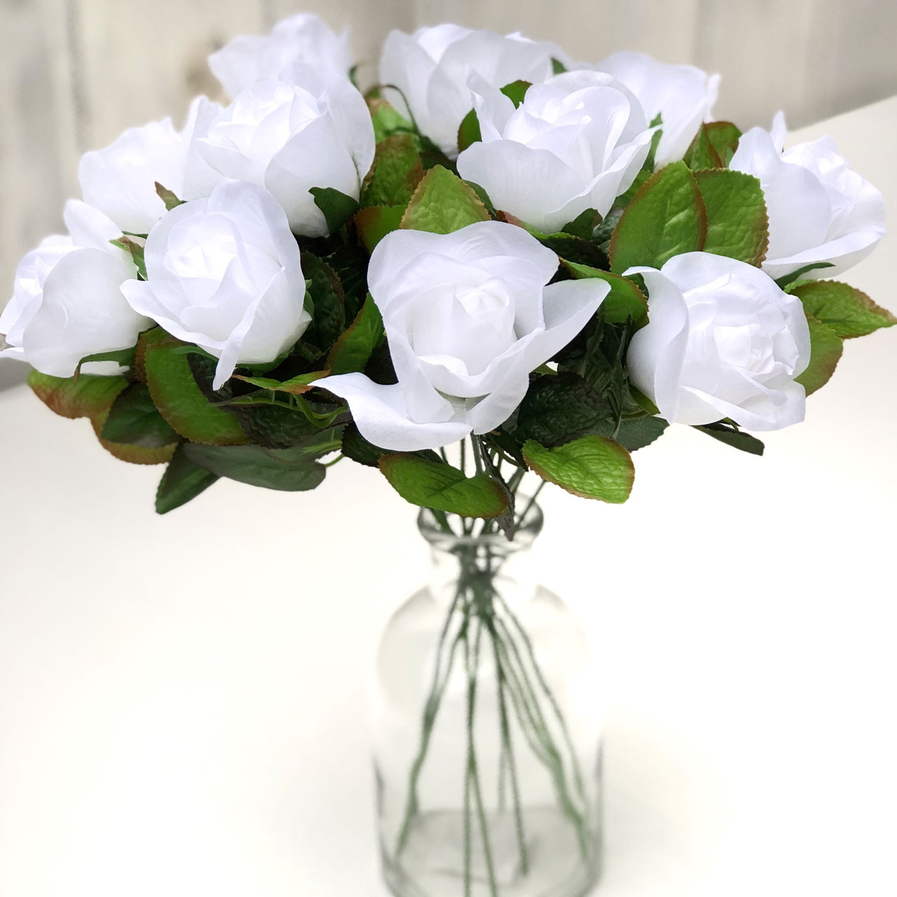 White Roses Artificial Flowers Fake Roses Silk Roses Faux Flowers Flowers In Bulk 12 White Stems Thebridesbouquet Com