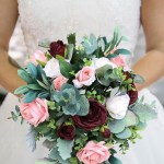 Cascading Wedding Bouquet In Burgundy Dusty Pink With Eucalyptus Greenery Cascade Thebridesbouquet Com