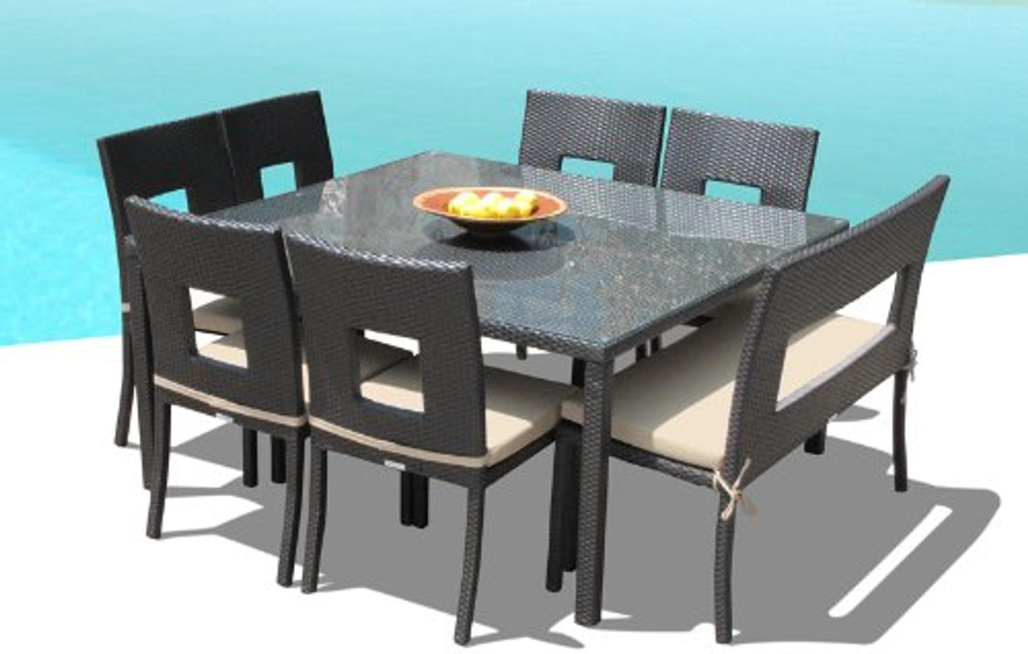 nicole 8 piece square dining set w bench