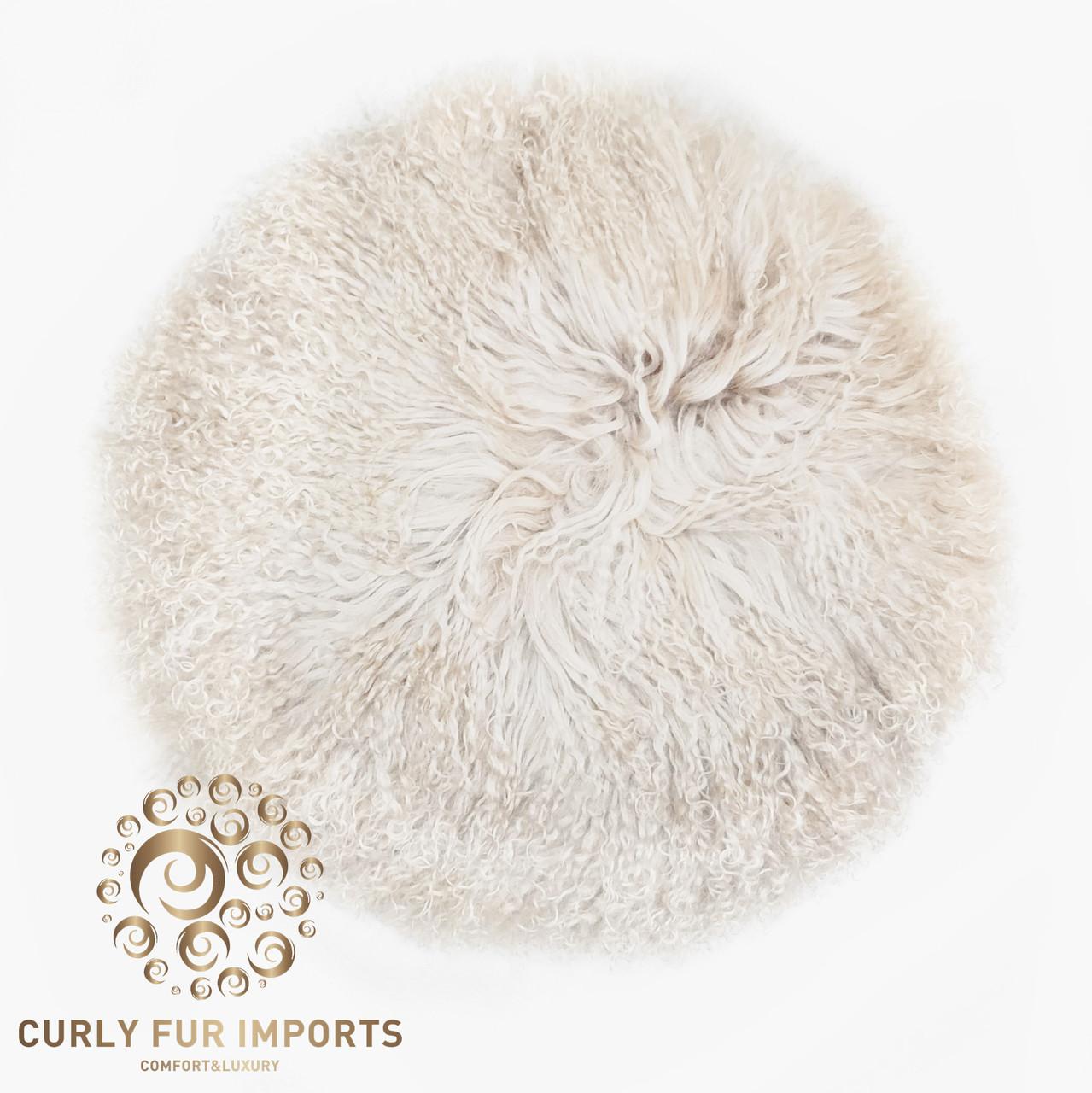 16 round tibetan lamb fur pillow single sided fur beige