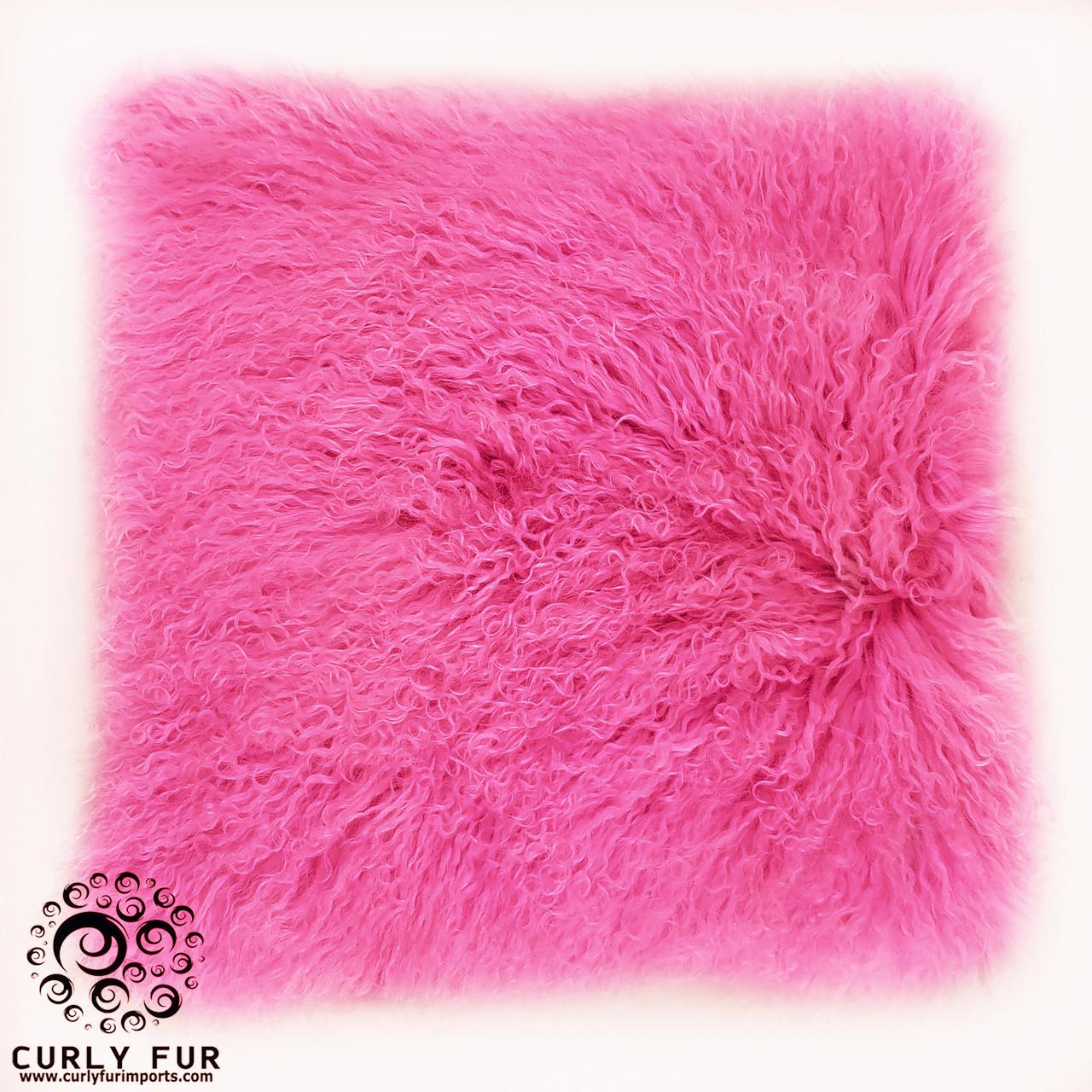 18 x 18 tibetan lamb fur pillow single sided fur shocking pink