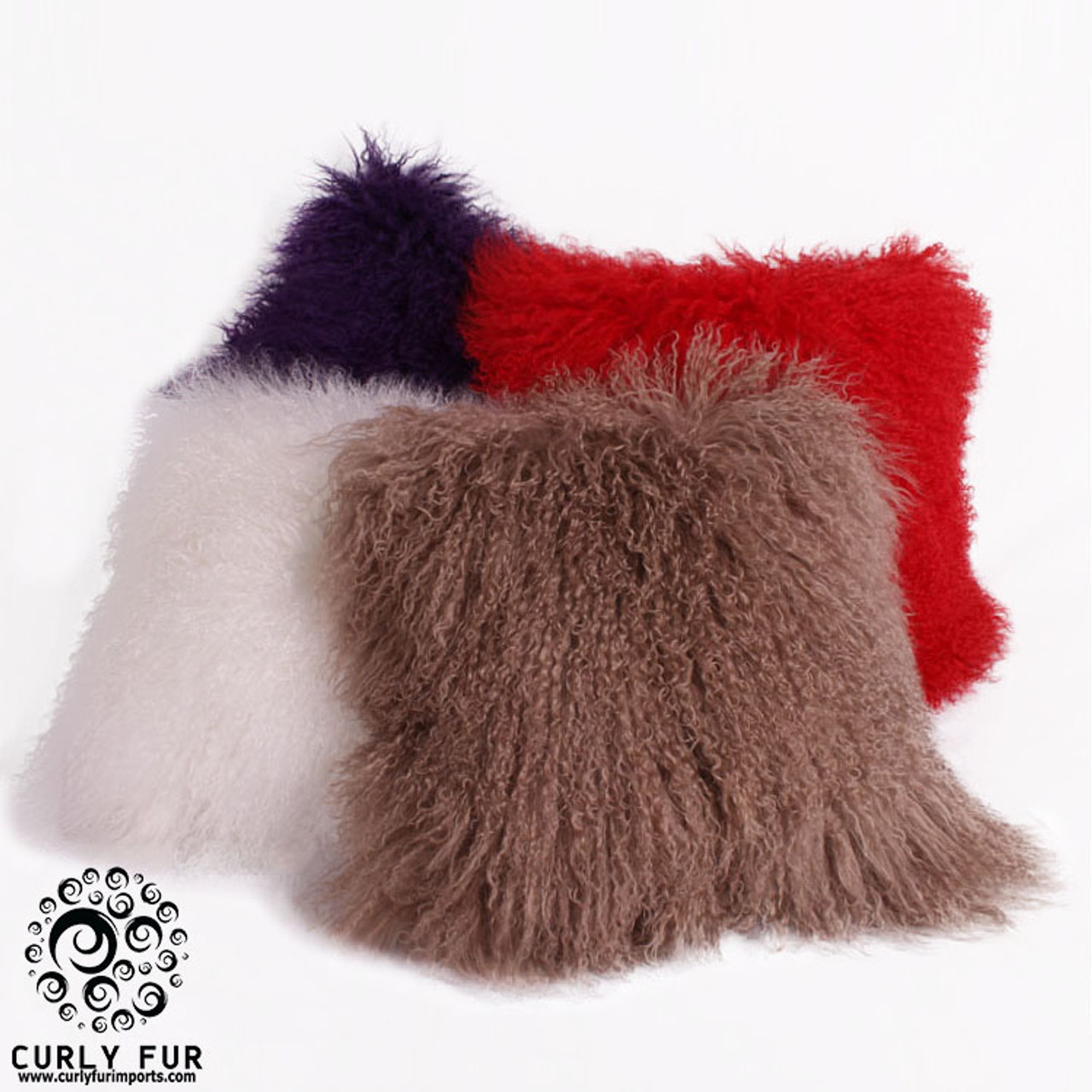 26 x 26 tibetan mongolian lamb fur pillow double sided fur many colors