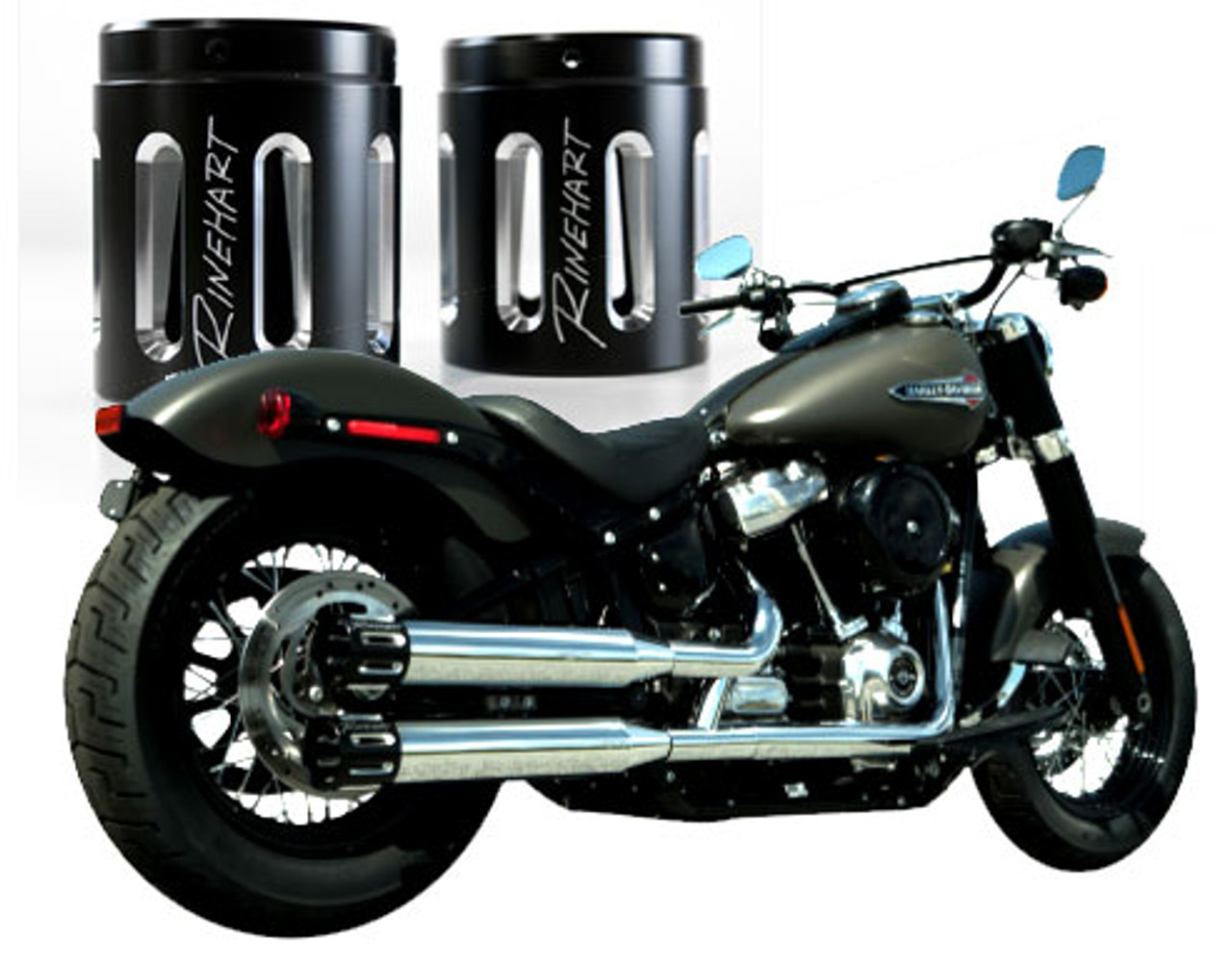 rinehart racing 3 5 inch slip on mufflers for softail models 18 up with slot end caps chrome with black slotted endcaps click for fitment