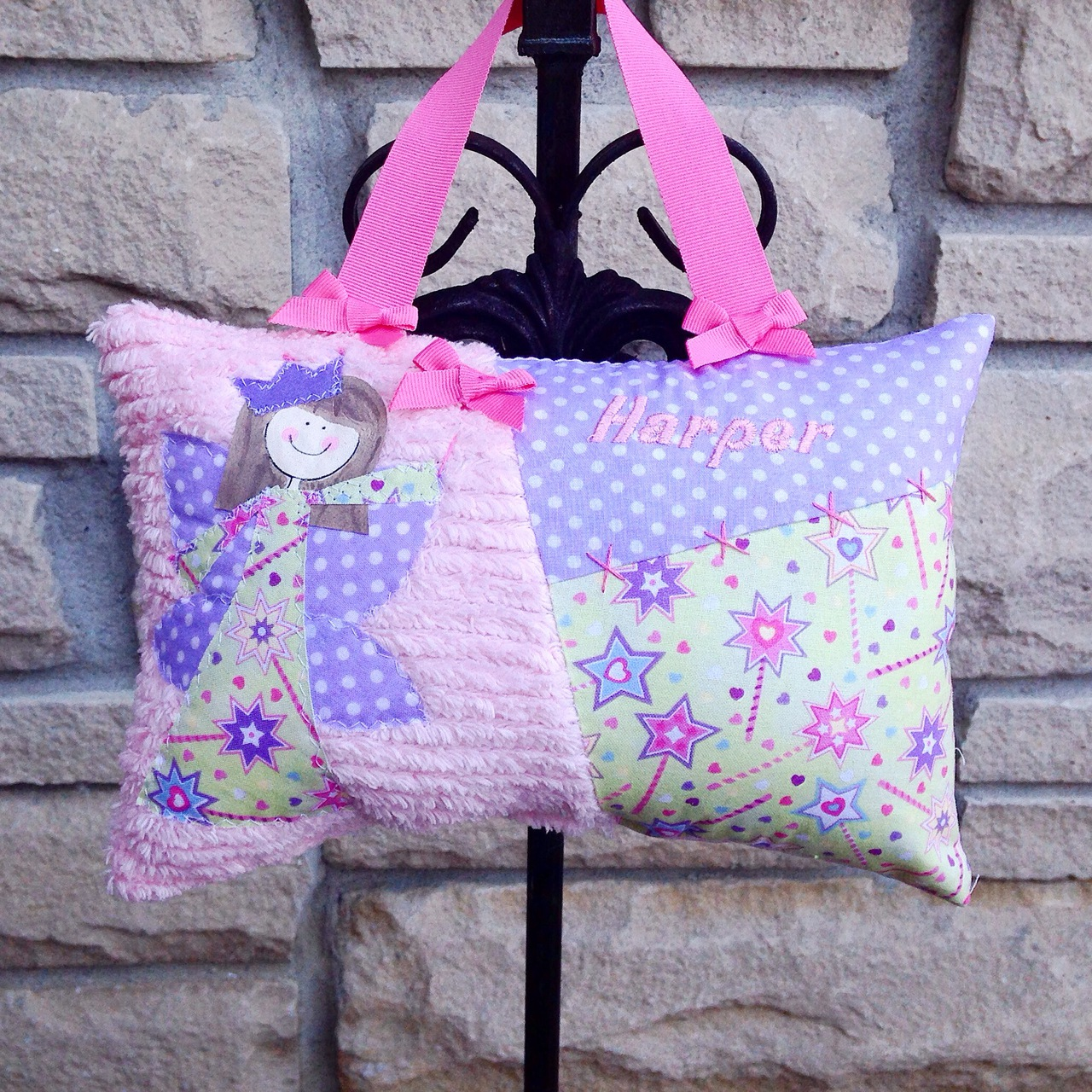 personalized girls tooth fairy pillow custom made in magic fairy wand fabrics