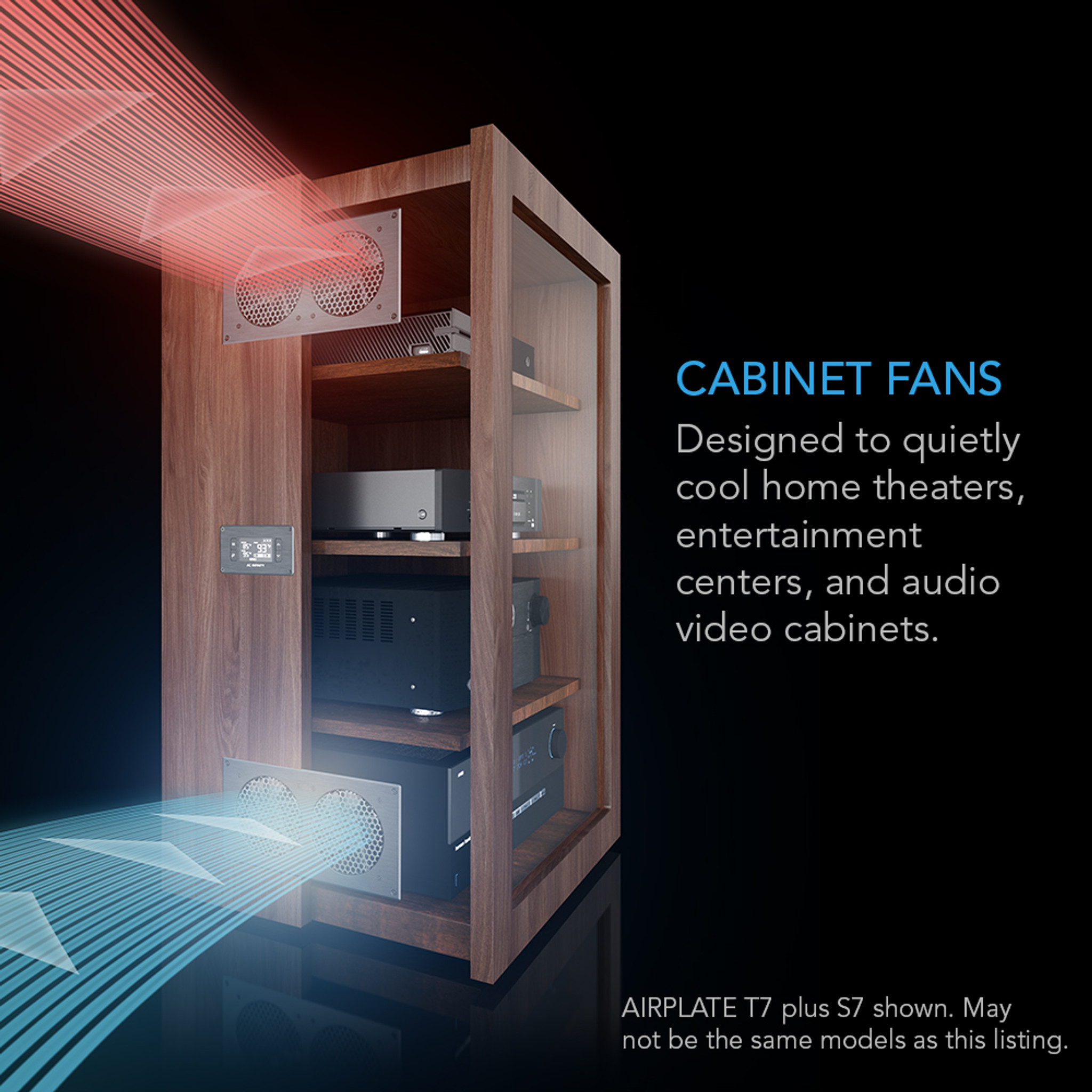 airplate t7 home theater and av quiet cabinet cooling fan system 12 inch