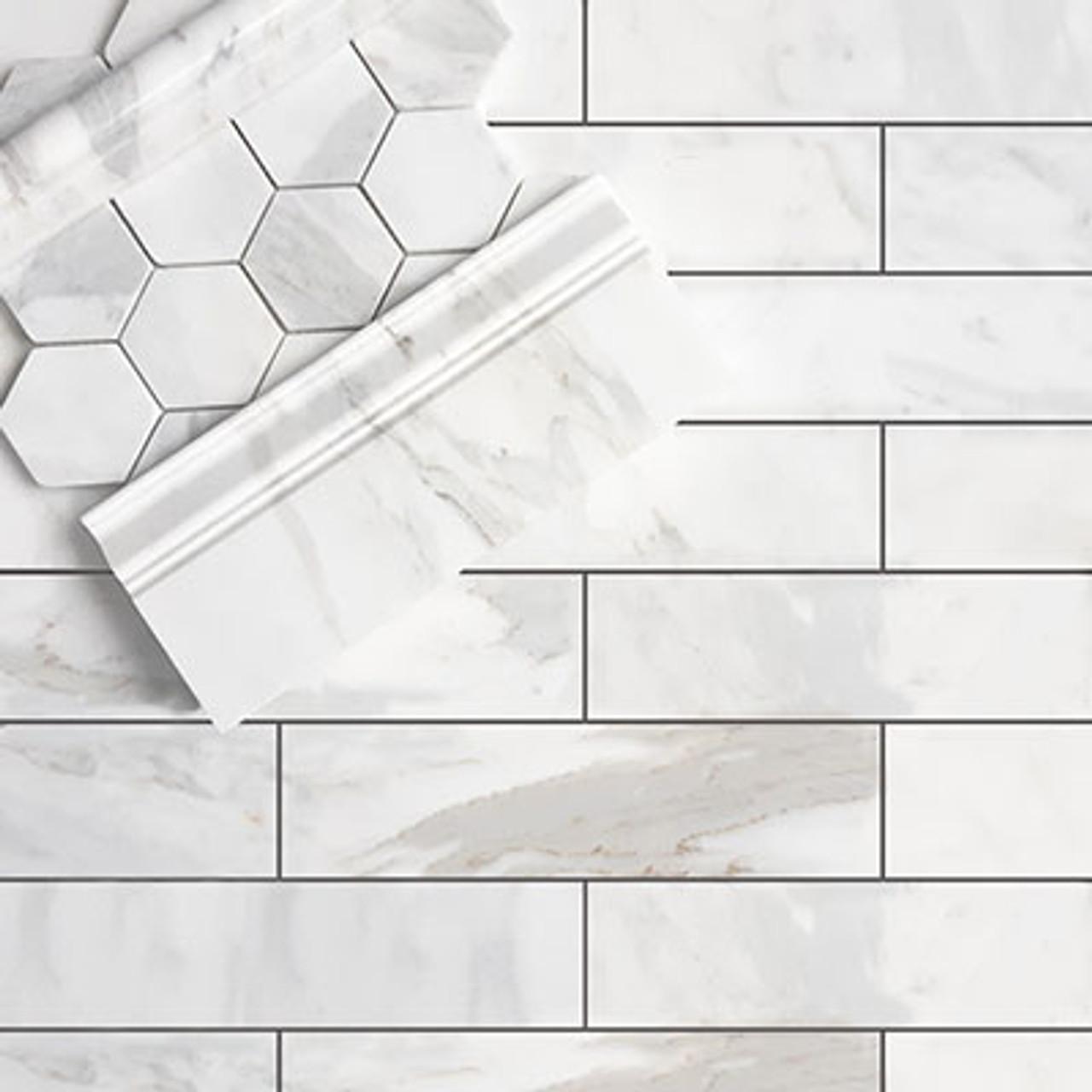 calacatta gold italian marble 3x12 subway tile honed