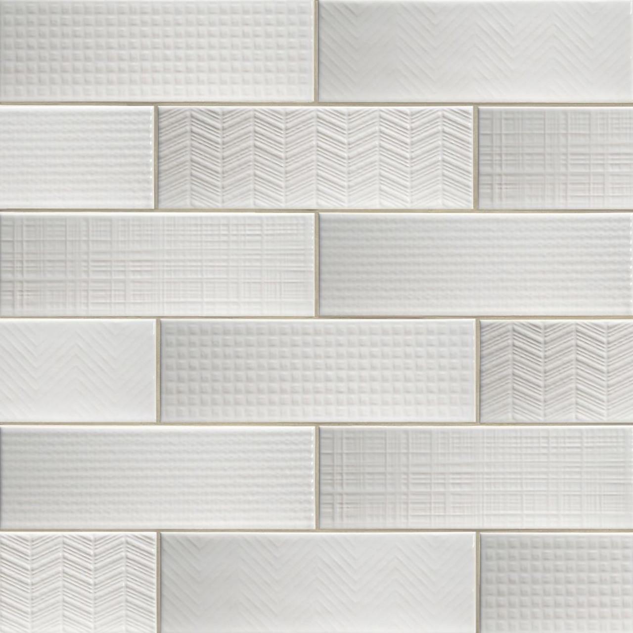 ms international backsplash series urbano pure 3d mix 4x12 glossy ceramic subway tile nurbpurmix4x12